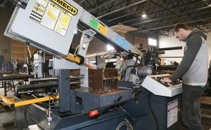 TD Steel saw cutting